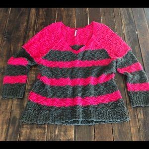 🌱Free People Striped V-Neck Sweater Sz M